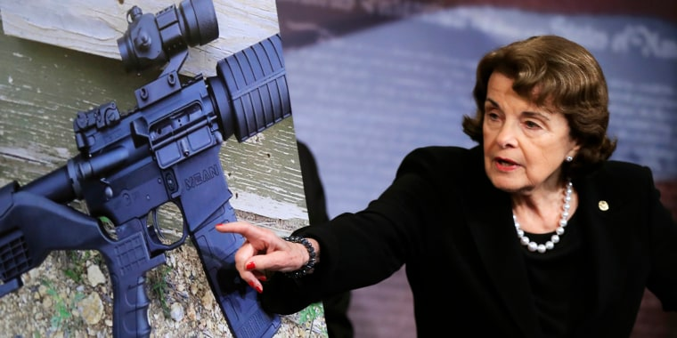 Image: Dianne Feinstein peaks during a news conference about gun legislation