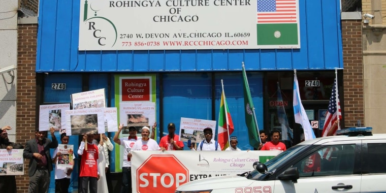 Members of Chicago's Rohingya community demonstrate to raise awareness of the plight in Myanmar.