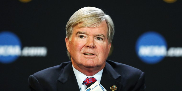 Image: NCAA President Mark Emmert speaks with the media during a press conference