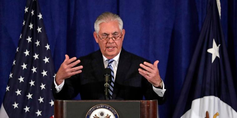 Image: United States Secretary of State Rex Tillerson addresses the media