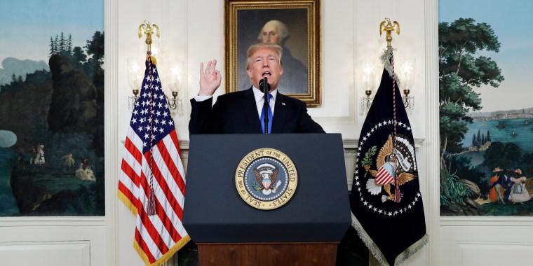 Image: President Donald Trump speaks on Iran policy