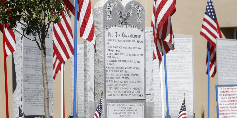 Image: The Ten Commandments monument at the Bloomfield Municipal Complex