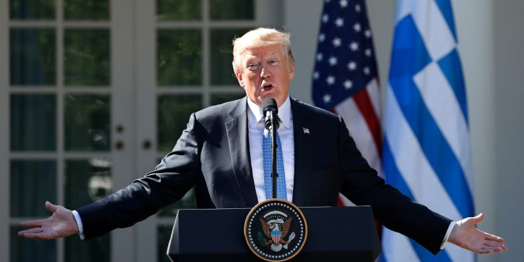 Image: President Trump speaks during joint press conference with Greek Prime Minister Tsipras at the White House in Washington