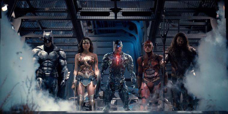 Image: Ben Affleck as Batman, Gal Gadot as Wonder Woman, Ray Fisher as Cyborg, Ezra Miller as The Flash and Jason Momoa as Aquaman