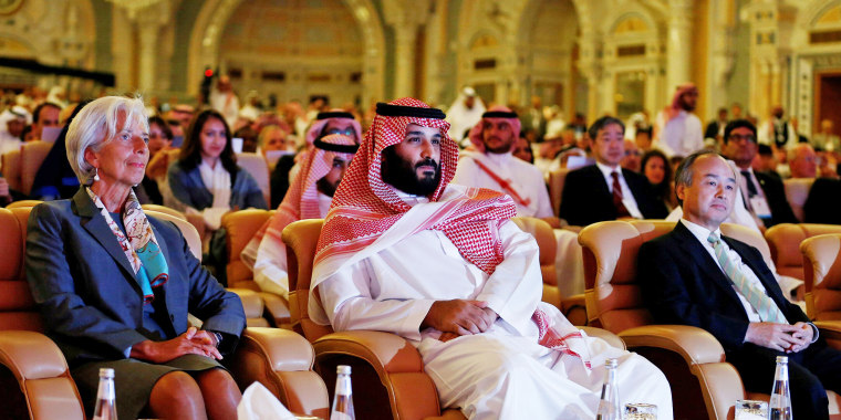 Image: Prince Mohammed bin Salman, Masayoshi Son and Christine Lagarde attend the Future Investment Initiative conference in Riyadh