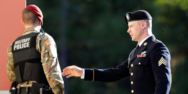 Image: U.S. Army Sergeant Bowe Bergdahl arrives at the courthouse for the second day of sentencing proceedings in his court martial at Fort Bragg, North Carolina
