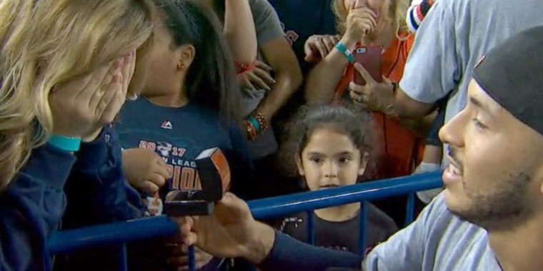 Carlos Correa proposed after winning the World Series.