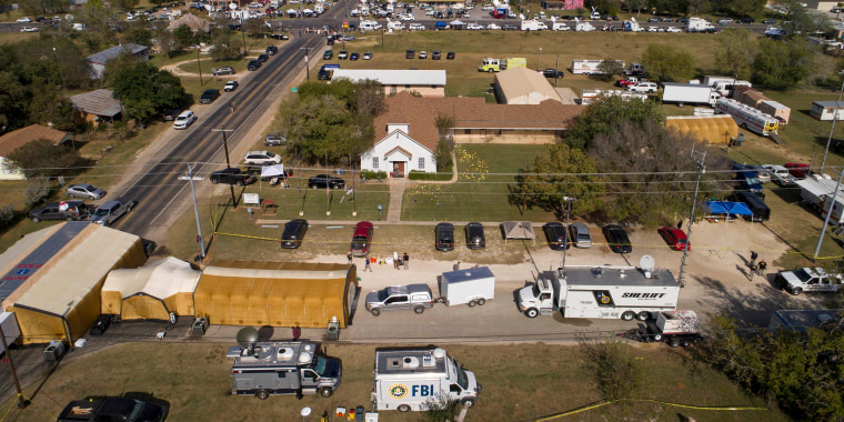 Image: An aerial photo of the area around First Baptist Church in Sutherland Springs, Texas