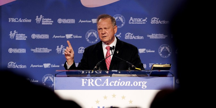 Image: Former Alabama Supreme Court Chief Justice Roy Moore speaks at the Values Voter Summit of the Family Research Council in Washington