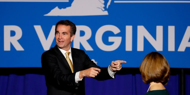 Image: Democratic candidate for governor Northam speaks after his victory in Fairfax