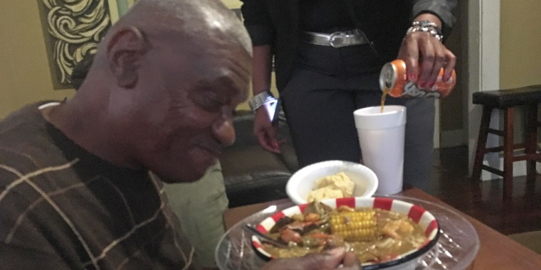 Image: Wilbert Jones's first meal of gumbo, the day after his release from prison.