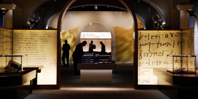 Image: Exhibits are readied inside the Museum of the Bible