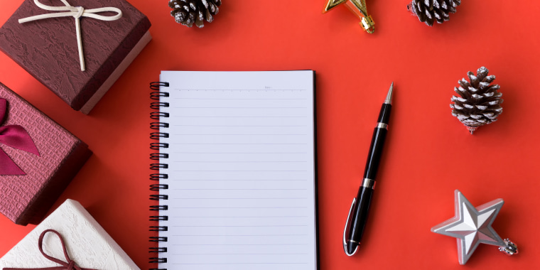 Christmas and New Year Background with Blank Notebook