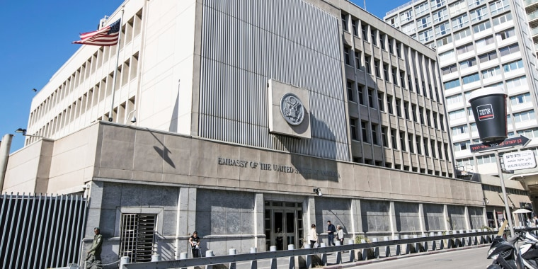 Image: Exterior of the US Embassy building in the Israeli city of Tel Aviv