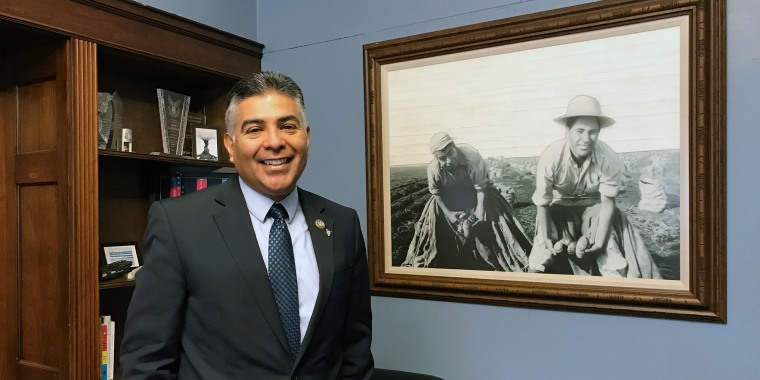 Image: Rep. Tony Cardenas, D-Calif., stands near a drawing of a photo of his father, smiling, and grandfather harvesting potatoes as farm workers