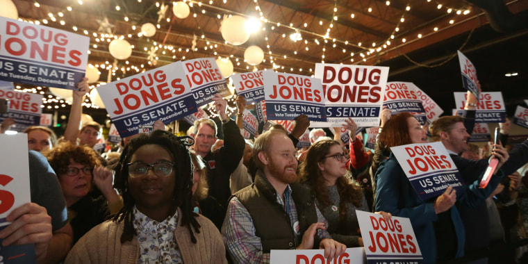 Image: Supporters listen to Doug Jones speak at a rally at Old Car Heaven in Birmingham