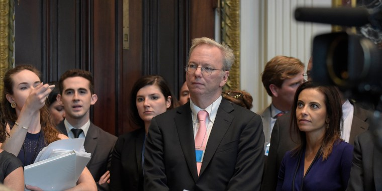 Image: Eric Schmidt  listens as White House senior adviser Jared Kushner speaks at the opening session of the White House meeting with technology Chief Executive Officers