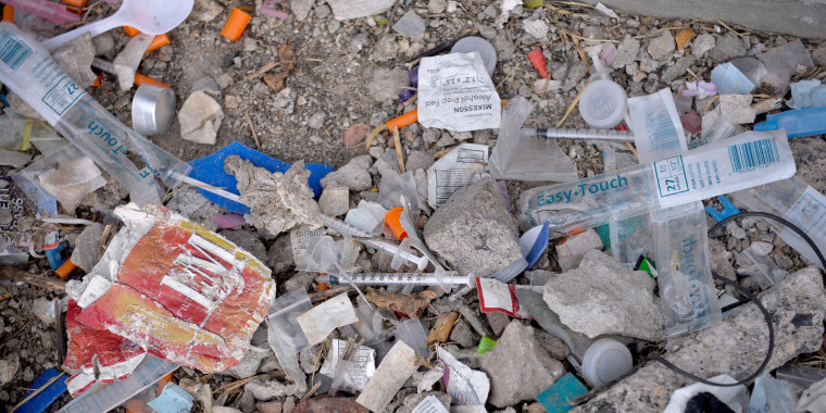 Image: Needles Used for Shooting Heroin and Other Opioids Litter the Ground in a park in the Kensington section of Philadelphia