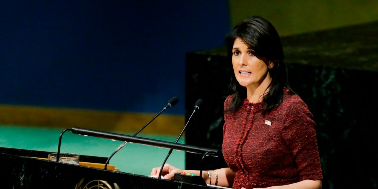 Image: United States Ambassador to the United Nations Nikki Haley addresses the General Assembly prior to a vote on Jerusalem