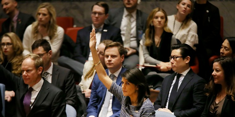 Image: Nikki  Haley, the United States Ambassador to the U.N., votes with other members of the U.N. Security Council to impose new sanctions on North Korea on Dec. 22, 2017 in New York City.