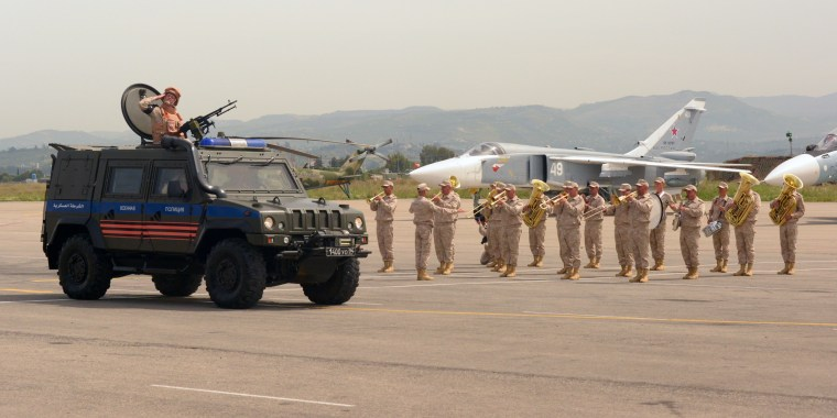 A military parade at Russia's base in Hmeimim, Syria, on May 9, 2017.