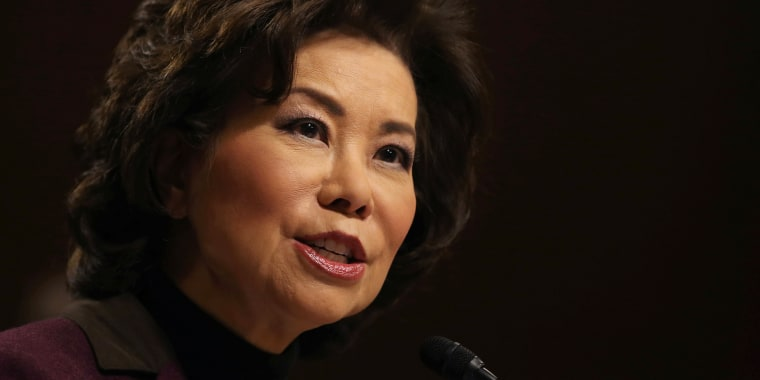 Image: Elaine Chao testifies before a Senate Commerce Science and Transportation Committee confirmation hearing on her nomination to be transportation secretary on Capitol Hill in Washington
