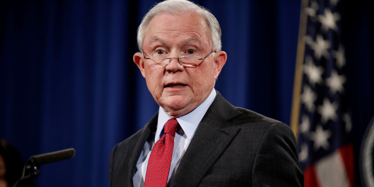 "Image: U.S. Attorney General Jeff Sessions holds a news conference to discuss ""efforts to reduce violent crime"" at the Department of Justice in Washington"