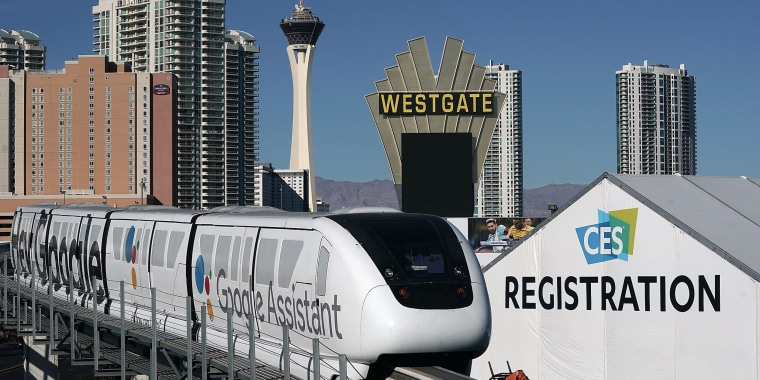 Image: A monorail car passes in front of the the Las Vegas Convention Center