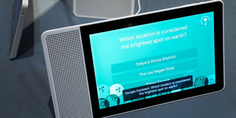 Image: A 10-inch Lenovo Smart Display with Google Assistant is shown during Pepcom's Digital Experience in Las Vegas