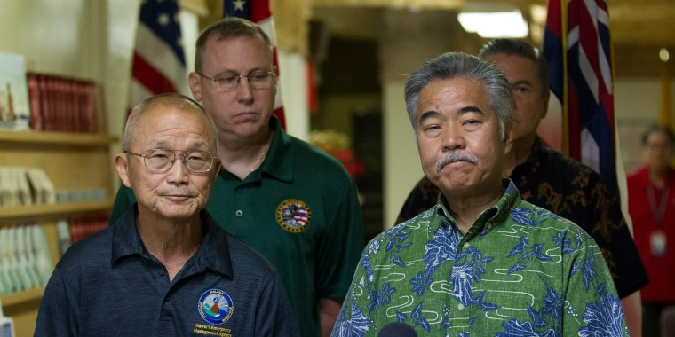 Hawaii Emergency Management Agency Administrator Vern Miyagi, left, and Gov. David Ige address the media after a mistaken alert warned residents of an imminent ballistic missile test Saturday morning.
