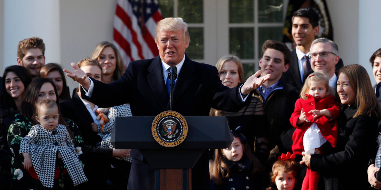 Image: U.S. President Donald Trump addresses the annual March for Life rally, taking place on the National Mall, from the White House Rose Garden in Washington, Jan. 19, 2018.