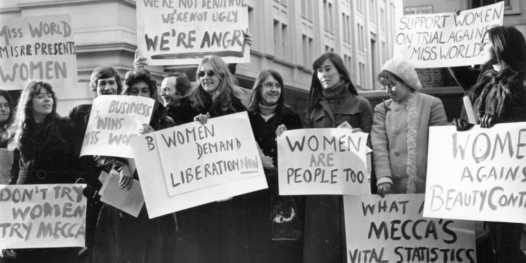 Image: The Women's Liberation movement protests against the Mecca Organisation's Miss World Contest on Dec. 22, 1970.
