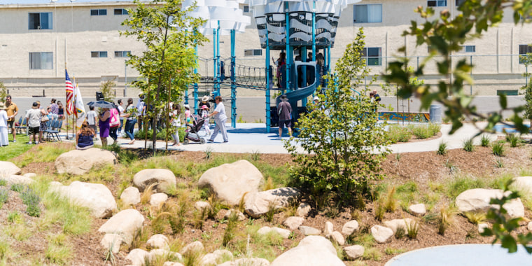 A view of Bicentennial Park in Los Angeles, which was cleaned up under an initiative spearheaded by From Lot to Spot, a group created by Viviana Franco.