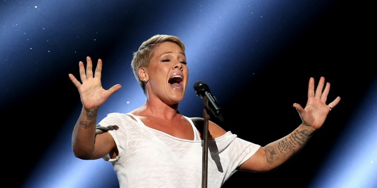 """Image: Pink performs """"Wild Hearts Can't Be Broken"""" at the 60th annual Grammy Awards at Madison Square Garden on Sunday, Jan. 28, 2018, in New York."""