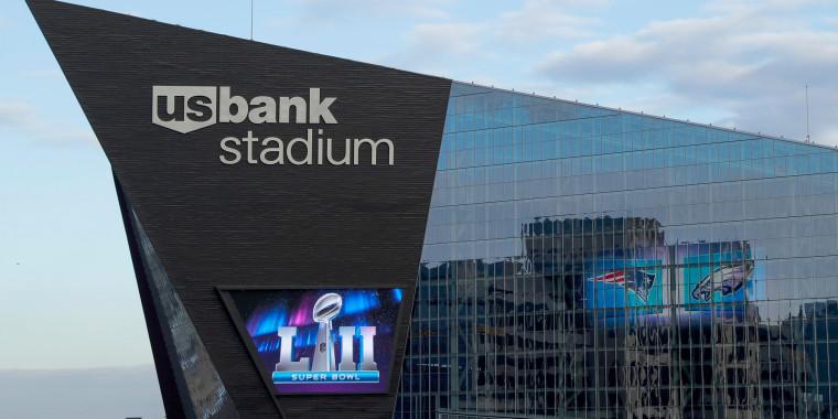 Image: U.S. Bank Stadium ahead of Super Bowl Sunday, on Jan. 31, 2018, in Minneapolis.
