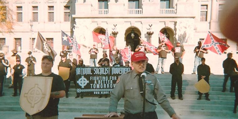 Image: Arthur Jones speaks in support of Donald Trump in Harrisburg, Penn.