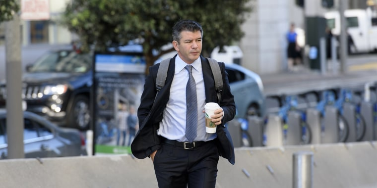 Image: Travis Kalanick  arrives at the Phillip Burton Federal Building and U.S. Courthouse