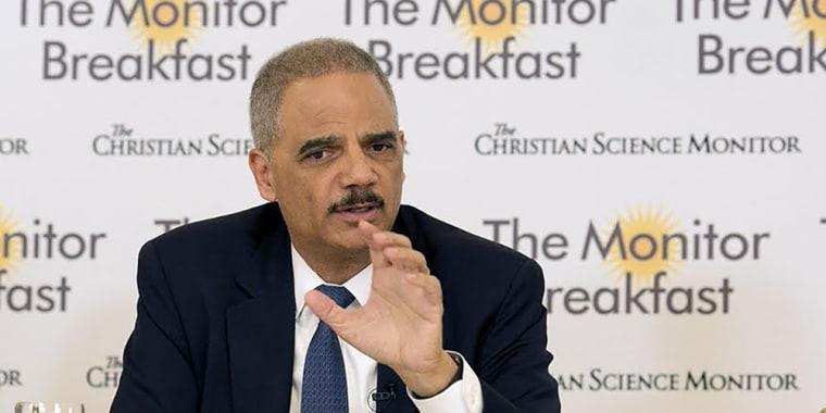 Image: Eric Holder speaks during the Christian Science Monitor breakfast