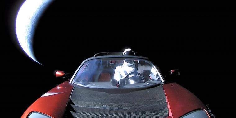 Image: Tesla Roadster in space