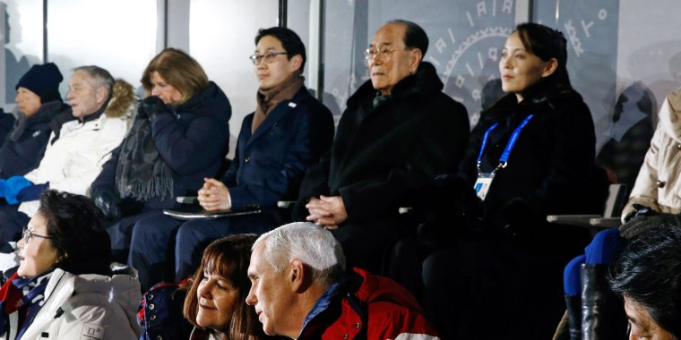 Vice President Mike Pence talks with his wife Karen at the Winter Olympics just a row in front of Kim Yo Jong, sister of North Korean leader Kim Jong Un.