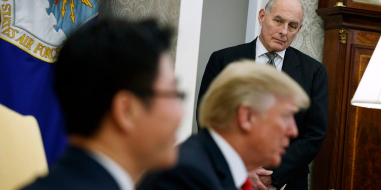 Image: White House Chief of Staff John Kelly listens during a meeting