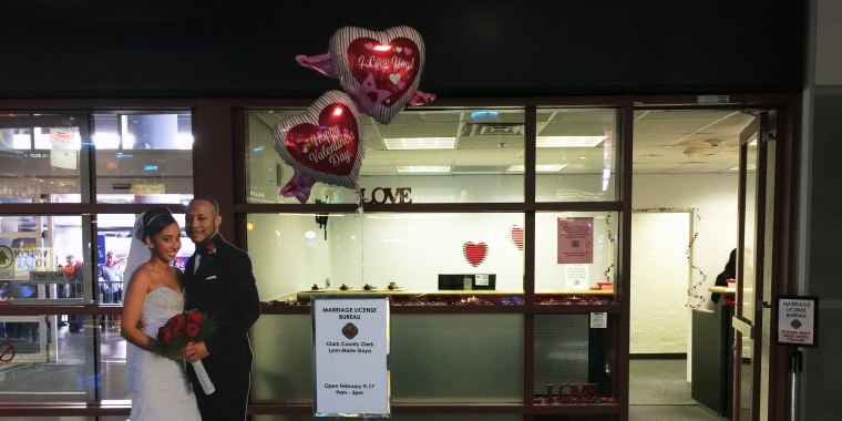 In response to the uptick of couples applying for last-minute marriage licenses in Las Vegas around Valentine's Day, the city now offers a pop-up marriage license bureau in the airport's baggage claim area.