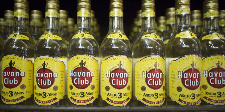 Image: Bottles of Havana Club rum are displayed inside a shop in Havana