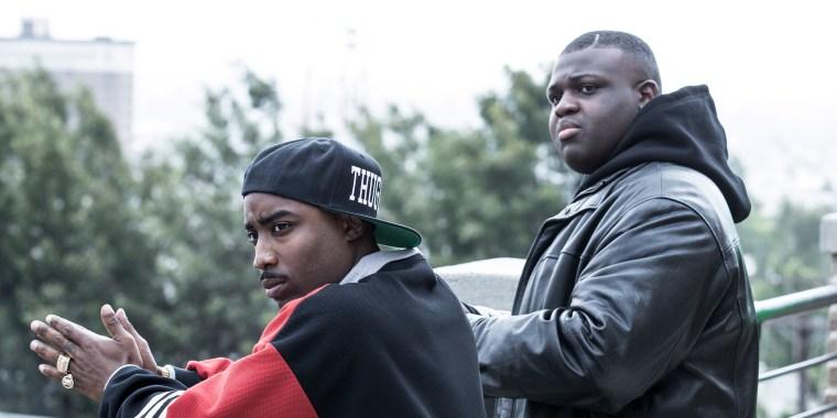 Image: Marcc Rose as Tupac Shakur, left, and Wavyy Jonez as Biggie