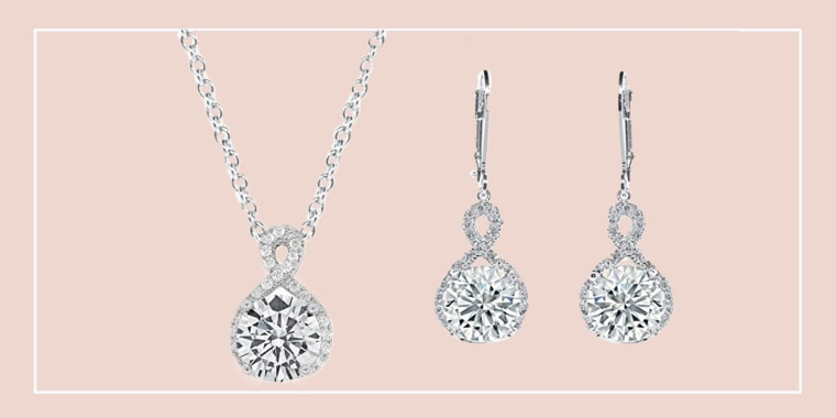 Today Show, Deal of the Day - Cate & Chloe Alessandra 18k White Gold CZ Halo Infinity Pendant Necklace, Best Round Diamond Solitaire Cubic Zirconia Crystal Silver Necklaces Special-Occasion Jewelry / Cate & Chloe Earrings