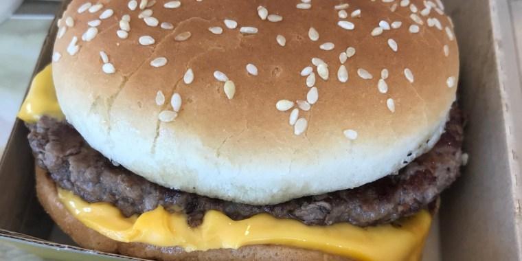 Image: A hamburger made with fresh beef at a McDonald's in Dallas.