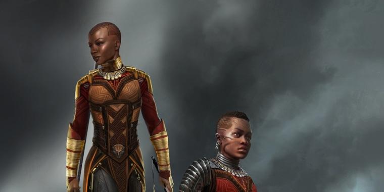 "Art of ""Dora Milaje"" warriors from Marvel Studios' ""Black Panther."""