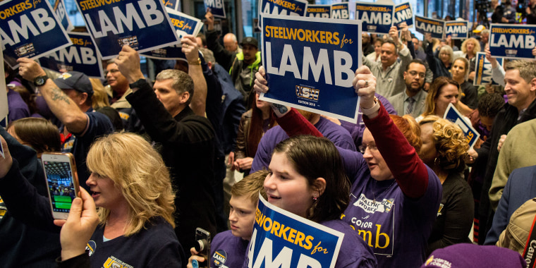 Image: The crowd cheers during a rally for Conor Lamb at the United Steelworkers headquarters