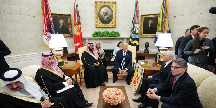 Image: President Donald Trump meets with Saudi Arabia's Crown Prince Mohammed bin Salman