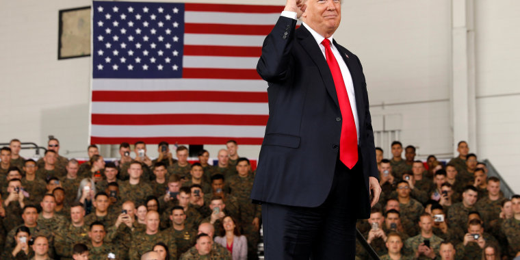 Image: President Donald Trump pumps his fist after speaking at Marine Corps Air Station Miramar in San Diego, California